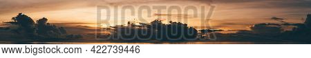 A Panoramic View Of A Stunning Dramatic Sunset Over The Ocean, Evening On The Maldives, Tropical War