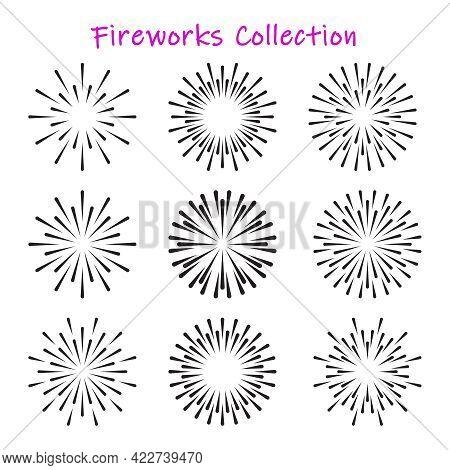 Firework Or Sunbursts Black Collection. Vector Set Of Vintage Or Retro Light Explosion Rays Design E