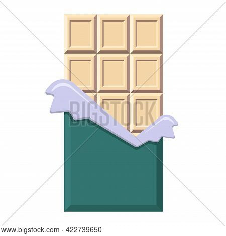 White Chocolate Bar In Opened Foil And Wrapper. Flat Style Candy Bar In Opened Package With Copy Spa