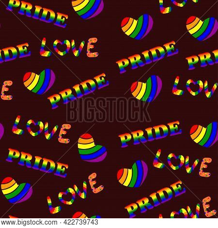 Seamless Pattern For Lgbt Pride Month. Human Rights And Tolerance. Love Elements. Concept Of Gay Pri