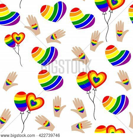Seamless Pattern For Lgbt Pride Month. Human Rights And Tolerance. Rainbow Elements. Concept Of Gay