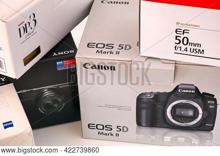 Tambov, Russian Federation - May 19, 2021 The Boxes Of Canon Eos 5d Mark Ii, Ef 50mm F/1.4 Usm Lens,