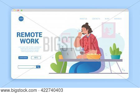 Remote Work Disadvantages Concept. Problems Of Home Office. Stress Eating And Overeating. Flat Carto
