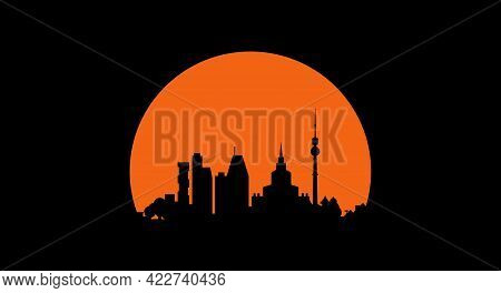 City Skyline At Sunset. Black Silhouette On The Sunset Background. Vector Illustration