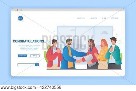 Diverse Multiethnic People Congratulate Female Colleague. Successful Teamwork, Career Development, S
