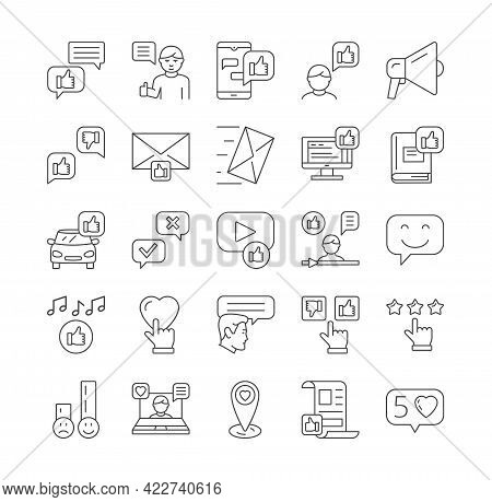 Feedback, Rating, Customer Review And Client Satisfaction Related Vector Icons. Like, Dislike, User