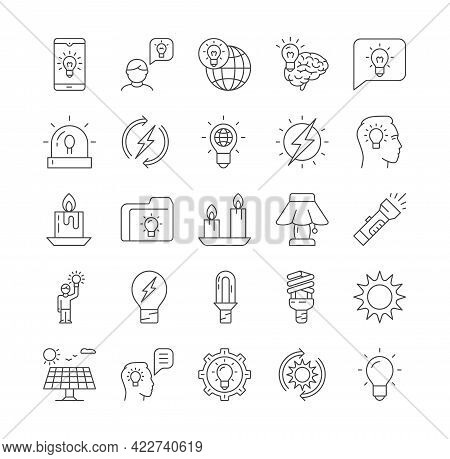 Line Set Of Glowing Icons. Collection Of Idea, Candles, Lightbulb, Incandescent Light, Innovation, C