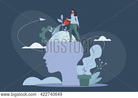 Personal Growth, Self-improvement And Self Development Concepts. Tiny Woman Watering Plant Growing F
