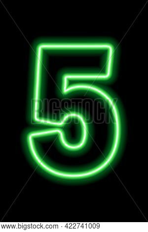 Neon Green Number 5 On Black Background. Learning Numbers, Serial Number, Price, Place.