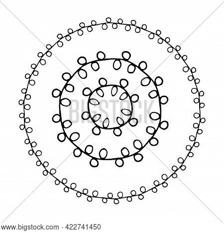 Vector Isolated Set Of Round Line Frames With A Pattern Of Small Circles Drawn By Hand In A Doodle S