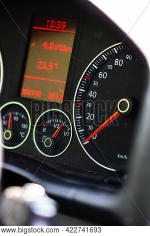 Selective Focus On Digital Display Of Car Isolated. Car Speedometer, Dashboard, Tachometer And Tempe
