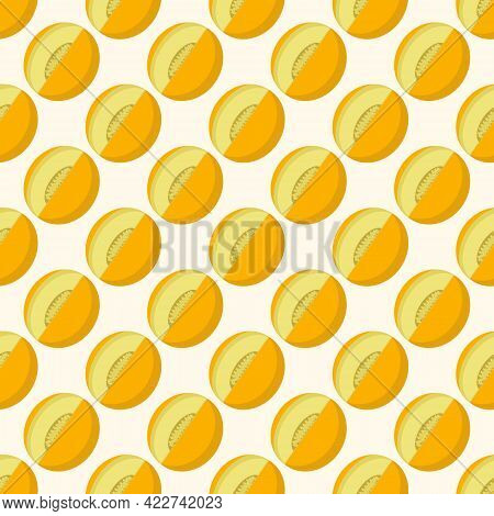 Melon Pattern On Light Background For Packaging Or Textile Design