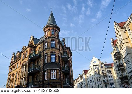 Historic Red Brick Tenement House In The City Of Poznan