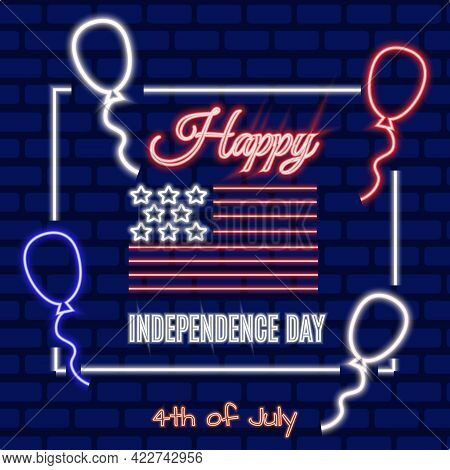 4th Of July American Independence Day Vector Neon Banner. Night Bright Signboard, Glowing Light Patr