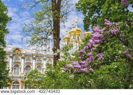 Resurrection Church Dome Of Catherine Palace In Pushkin (tsarskoe Selo) In Spring, Saint Petersburg,