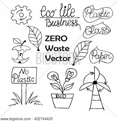Big Set Of Vector Doodles With Zero Waste. Icons In Black Ink. Reuse Of Paper, Glass, And Plastic. E