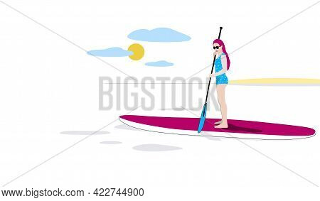 Woman Standing On Paddle Board Floating In The Sea. Summer Marine Landscape Concept. Minimal Illustr