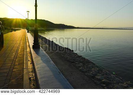 Amazing Sunset Landscape Of Costal Street In Golubac, Serbia