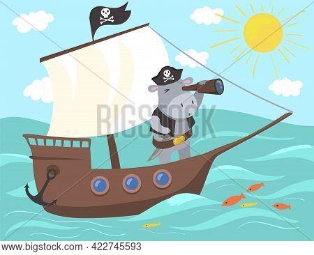 Pirate Hippopotamus Using Binoculars Illustration. Cute Cartoon Animal Standing On Ship Looking Ahea