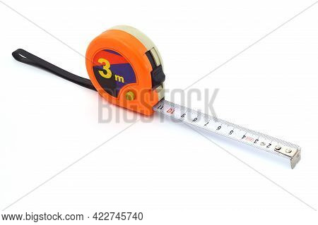 Orange Tape Measure On White With Clipping Path . 3 Meter