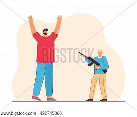 Son With Gun Pretending To Be Criminal And Playing With Father. Flat Vector Illustration Of Dad Rais