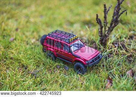 Beautiful View Of Rc Model Car. Free Time Children And Adults Concept. Uppsala. Sweden. 06-05-2021.