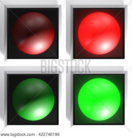 Set Of Black Checkboxes With Red And Green Light, On And Off - 3d Rendering Illustration