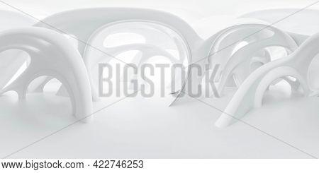 Full 360 Panorama View Of Modern Empty White Organic Shape Building Environment 3d Render Illustrati