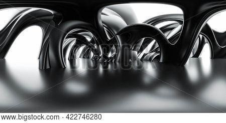 Full 360 Panorama View Of Dark Futuristic Geometric Round Organic Shape Environment 3d Render Illust
