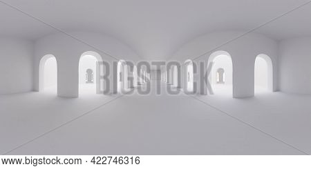 Spherical 360 Degrees Panorama Of Empty Blank White Studio With Bright Day Lighting 3d Render Illust