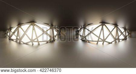 360 Degrees Panorama View Of Dark Empty Studio 3d Render Illustration Hdri Hdr Vr Style