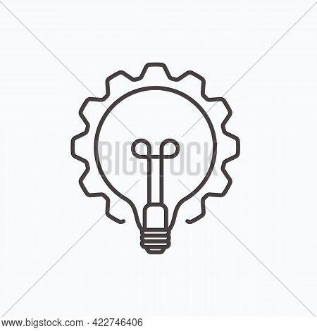 Innovation Thin Line Symbol, Cogwheel And Lamp Bulb Icon. Innovation Logo. Vector Illustration Eps10