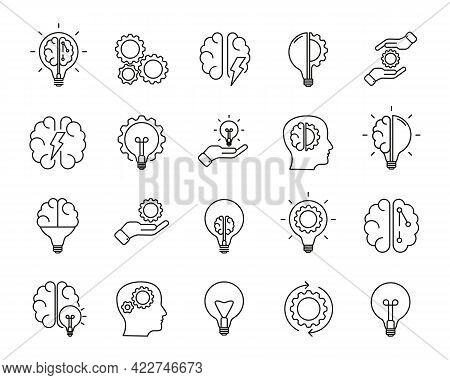 Brainstorm Icons Set. Artificial Light, Brain, Lightbulb, Creative, Development, Knowledge, Brainsto