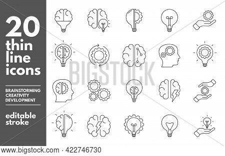 Brainstorm Thin Line Icons Set. Artificial Light, Brain, Lightbulb, Creative, Development, Knowledge