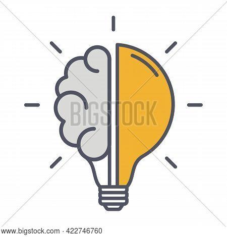 Creative Idea Thin Line Icon. Brain In Lightbulb Innovation Logo. Vector Illustration