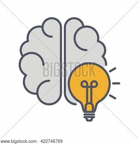 Brainstorm Line Icon. Lightning In Brain Innovation Logo. Vector Illustration