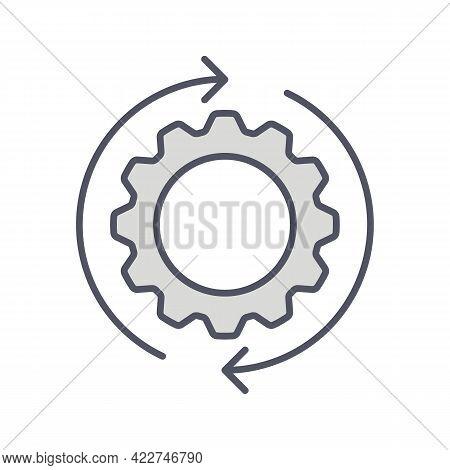 Development Solution Thin Line Icon. Gear With Arrow Innovation Logo. Vector Illustration