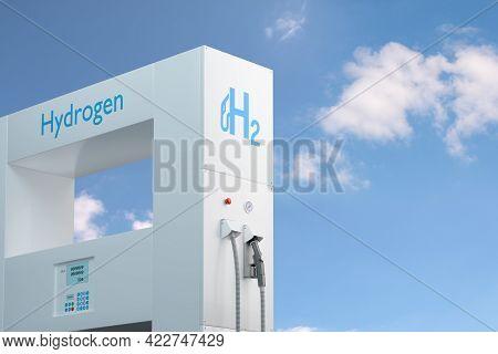 Hydrogen Gas Stations Fuel Dispenser Whit Copy Space. 3d Illustration.