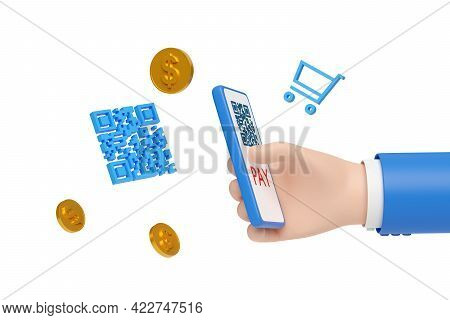 Cartoon Hand Paying With A Mobile Phone And Qr Code Isolated In White Background. 3d Illustration.