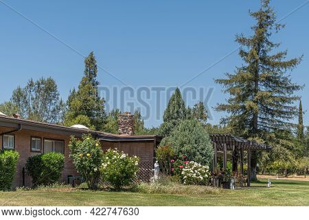 Santa Inez, Ca, Usa - May 26, 2021: San Lorenzo Seminary. Low Built Office Building Set In Lawn And