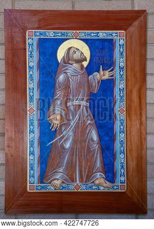 Santa Inez, Ca, Usa - May 26, 2021: San Lorenzo Seminary, Inside Church, Closeup Of Saint Francis Pa