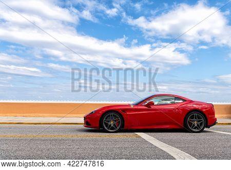 Palm Beach, Florida Usa - March 21, 2021: Ferrari California