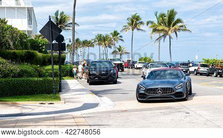 Palm Beach, Florida Usa - March 21, 2021: Grey Mercedes-benz Amg Gts V8 Bi-turbo, Luxury Life