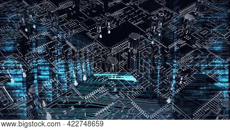 Composition of computer processor and circuit board. global data processing, computing and technology concept digitally generated image.