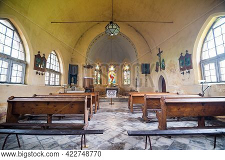 Borovnicka, Czech Republic - May 15, 2021. Interior Of Church Of The Divine Heart Of The Lord With B