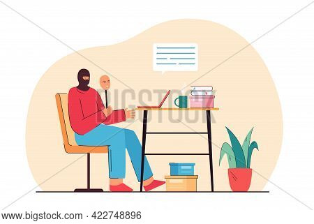 Hacker Sitting With Laptop Trying To Scam Victim On Internet. Fraud Artist Working At Home Flat Vect