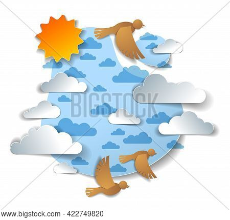 Birds Flying In The Sky Among Beautiful Clouds And Sun, Summer Cloudscape, Vector Illustration In Pa