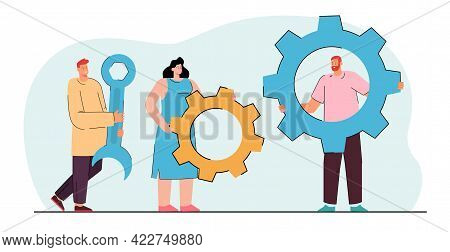 Colleagues Holding Gear-wheels And Wrench. Tiny Cartoon Woman And Men Holding Tools, Working Togethe