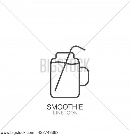 Smoothie Line Icon. Editable Stroke Symbol Of Detox Diet And Healthy Lifestyle