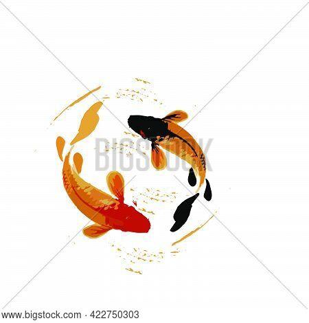 Koi Fish Illustration In In Art Splash Japan Style Art Vector